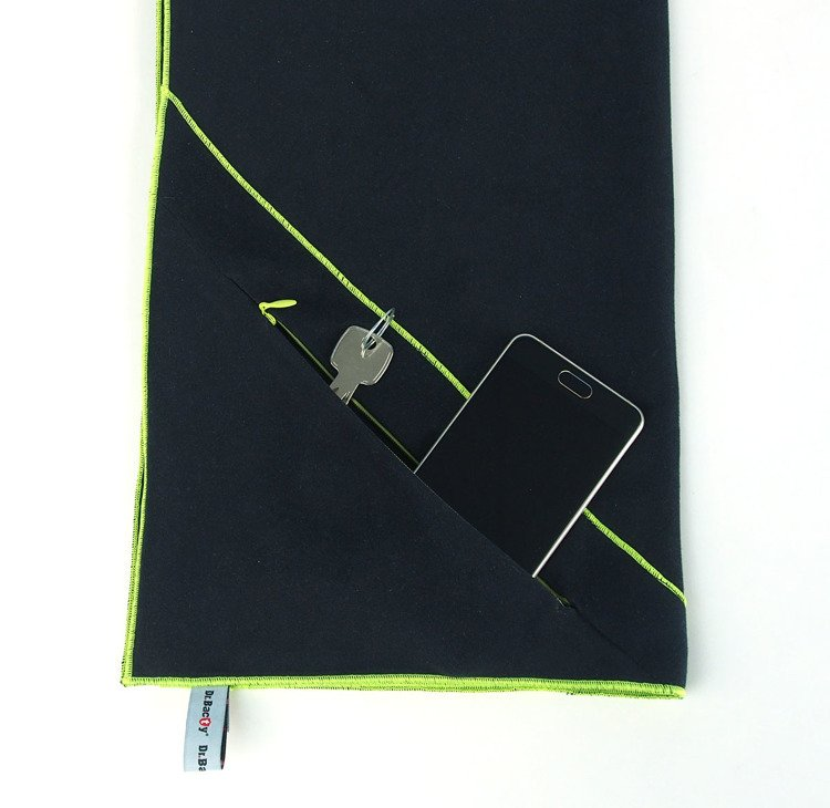 Training With Towels: Training Towel With Pocket Dr.Bacty 40x90 (black) Czarny